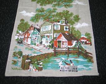 Vintage Tea Towel, Irish Linen Kitchen Hand Towel~Fishing Village~Parisian Prints New with Tags