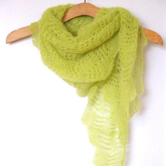 Encaje de la bufanda chal verde punto de cal. Bufanda de