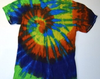 Rainforest River ~ Spiral Tie Dye Vneck T-Shirt (Gildan V-neck Size S) (One of a Kind)