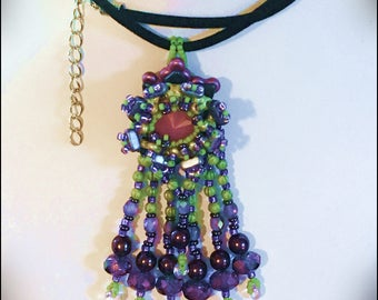 Lotus Blossom Pendant - Seed beaded pendant with crystals and CzechMates multihole beads by Hannah Rosner