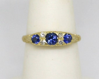 Blue Sapphire Diamond 18k Yellow Gold Wedding Band Stacking Band Engagement Ring