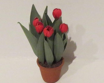 Miniature Red Potted Tulips 1:12 scale
