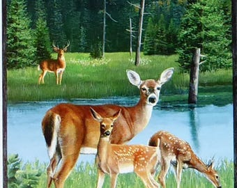 "Oh Deer! Panel 24"" x 44""~ Animal Cotton Fabric by~Wilmington Prints~Fast Shipping N412"