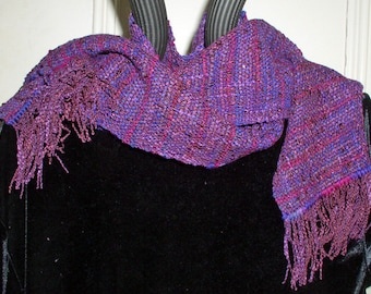 Scarf, Handwoven with Hand dyed Rose ,Purple, Blue Merino Wool, Warm and Colorful