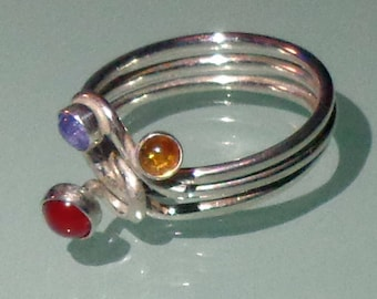 Multi Gemstone Ring Sterling Silver Handmade Bezel Set Cabochons