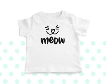Meow T-Shirt - Baby T-Shirt - Toddler T-Shirt - Baby Gift - Various Colours