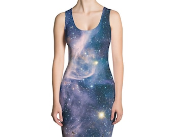 Galaxy Print Dress - Carina Nebula all-over print dress - outer space Dress
