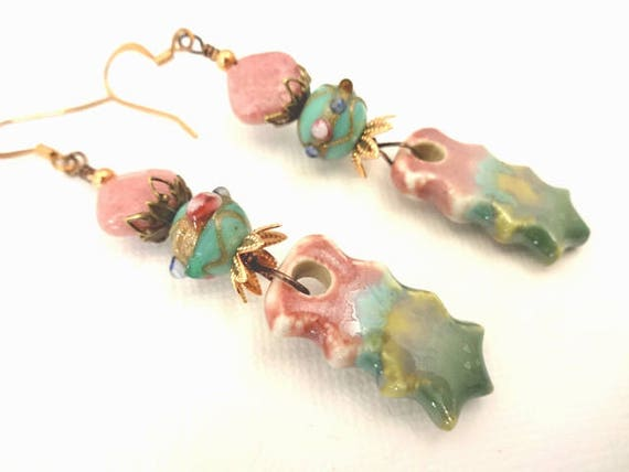 Artisan Ceramic, Rhodonite, Lampwork and Mixed Metal Earrings