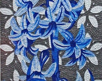 Blue Flowers Art Mosaic Design