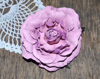 brooch Pink rose Beauty gift rose light pink brooch leather flower gift mom, nice gift idea gift for her, christmas gift, great gift for mom