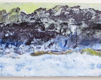 Abstract encaustic painting, abstract landscape painting, mountain painting, abstract ocean painting