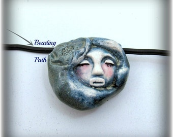 Ceramic beads, Stoneware beads, Pottery beads, Handmade beads, Focal bead,    # 89