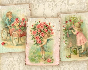 Printable greeting cards on Digital collage sheet best for Paper craft, Gift tags, Jewelry holders - CHILDREN WITH FLOWERS