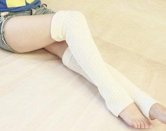 SALE -  in White Leg Warmers Knit Leg Warmers Women Handmade Legwarmers Boot Socks  Starsocks 1113