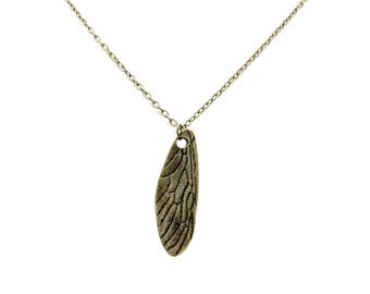 Bronze Dragonfly Wing Necklace