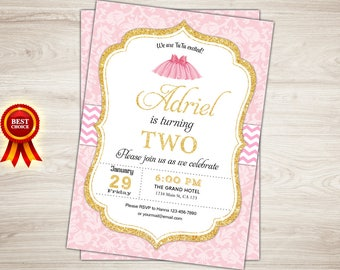 Tutu cute invitation etsy tutu birthday invitation tutu invitation tutu 2nd birthday invitation blush pink gold glitter filmwisefo Image collections
