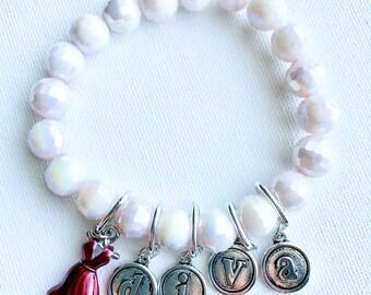 Customized Diva Beaded Charmed Bracelet, Red Dress Charm Bracelet