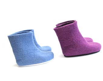 Kids Felt Boots - Purple Boots - Rubber Sole Felt Boots - 30 Color Felt Boots - Mix and Match Colors - Custom made Kids Sizes