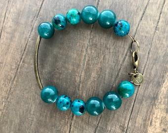 Green natural stone bracelet