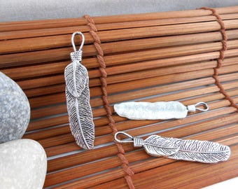 Feather silver charm, 11x57mm