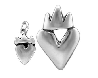 Crown Heart Mother Daughter Set - 2 Sterling Silver Heart Necklaces