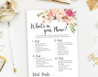 What's In Your Phone Game template Floral Bridal Shower games printable 5x7 inches Instant download