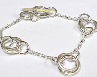 Sterling silver handmade link bracelet, hallmarked in Edinburgh