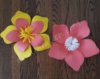 tropical flower hard copy template/paper flowers/ template/free shipping/cutouts/backdrop/baby nursery/party.