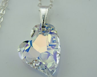 Swarovski Crystal AB Devoted to You Heart Sterling Silver Pendant Necklace