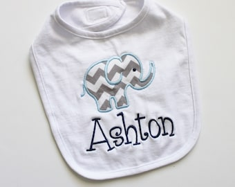 PERSONALIZED Baby Girl or Boy Bib with Elephant and Name Embroidered