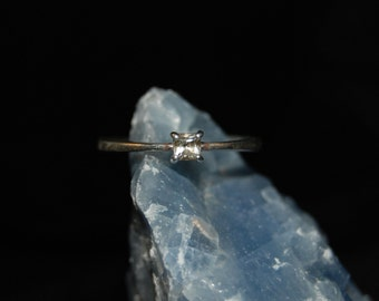 Princess Diamond 4 Prong 925 Sterling Edwardian Engagement Wedding Solitaire Ring #BKC-RNG148