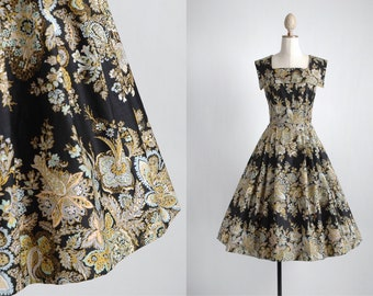 "1950s black polished cotton floral dress * 50s 1950's 50's 1960s 60s * summer spring dress * bust 38.5"" waist 26"" Wildman Original"