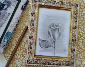 Rose sketch - framed print