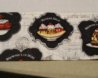 Extra large flour towel with dessert trim  black and white brownie a la mode berries and cream banana split