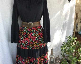 70s Jersey Dress, Tiered Skirt, Floral GYPSY, Boho, Small