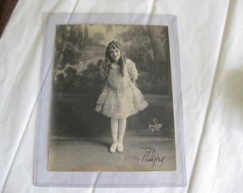 ORIGINAL 1910-15 Era Mary Pickford Ink Signed B&W Photo-Hartsook Studios LA/SF.