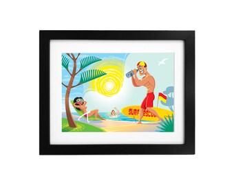 Beach Art Print, Lifeguard Caricature, Wall Art, Humorous Beach Art, Ocean Art, Home Decor, Beach Decor, Summer Wall Art, Funny Art Print
