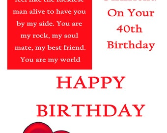 Girlfriend 40 Birthday Card with removable laminate