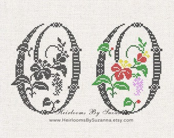 "Large Antique Floral Monogram - Machine Cross Stitch Embroidery - Tropical Flower Initial - Cross Stitch Font - Floral Font ""O"" - HBS-61-O"