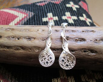 Sterling and Tiny Sapphires Dangle Post Earrings
