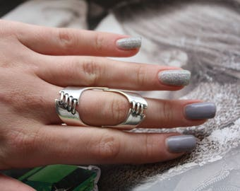 On the whole finger ring, Full finger ring, Ring with shoelaces pattern, Finger armour ring, Sterling silver full finger ring, Silver 925