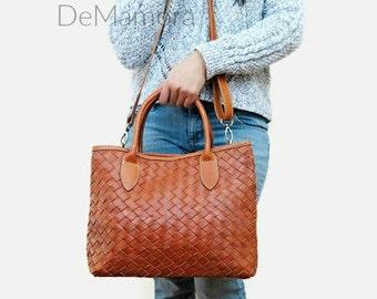 Women brown leather bag - leather handbag - leather tote - leather purse - soft leather bag - leather shoulder bag - leather woven bag