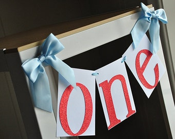 One Highchair Banner.  Handcrafted in 2-5 Business Days.   Airplane Party Decoration.