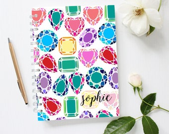 Diamonds Notebook, Custom Notebook Cover, Gemstone Notebook, Bling Notebook, Monogram Notebook, Spiral Notebook