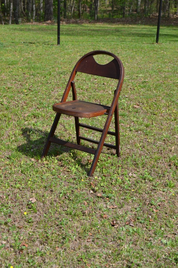 Vintage Antique Wooden Folding Chair Leather Seat Photo Prop