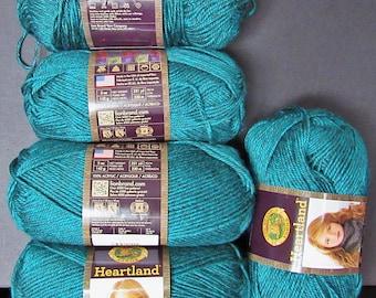 5 sks Lion Brand Heartland Tweed Acrylic Yarn,Emerald Green Free Ship