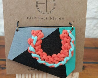 Hand printed and embroidered statement necklace