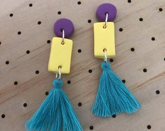 Clay Tassel Dangles in Purple, Yellow and Teal