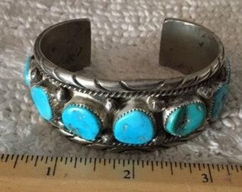 Bracelet Cuff Turquoise Silver Heavy