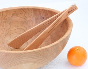 Salad bowl serving set, eco friendly solid cherry wood, 1 bowl & tongs, sustainable handmade table ware.